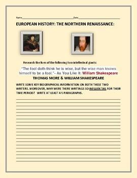 EUROPEAN HISTORY: NORTHERN RENAISSANCE: AP EUROPEAN HISTORY