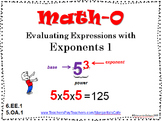 EVALUATING EXPRESSIONS with EXPONENTS -- 6.EE.1 - 5.OA.1