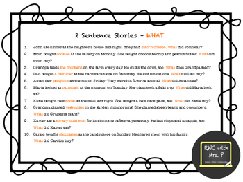 EVEN MORE 2-Sentence Stories and WH Questions