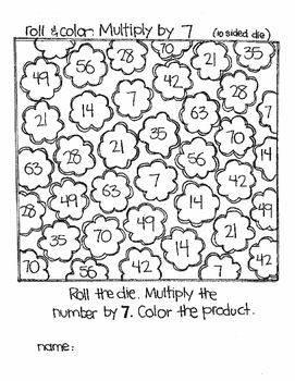 EVEN MORE Roll and Color:  Multiplication (Using 10 sided dice)