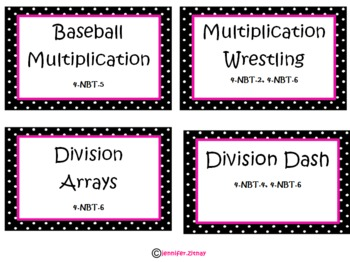 4th Grade Everyday Math Game Labels with Common Core Standards