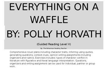 EVERYTHING ON A WAFFLE NOVEL COMPREHENSION PLANS