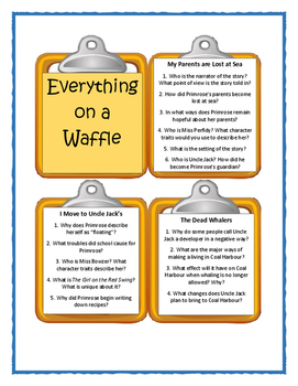 EVERYTHING ON A WAFFLE by Polly Horvath - Discussion Cards