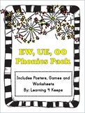 EW, OO, and UE Phonics Pack with posters, worksheets and games