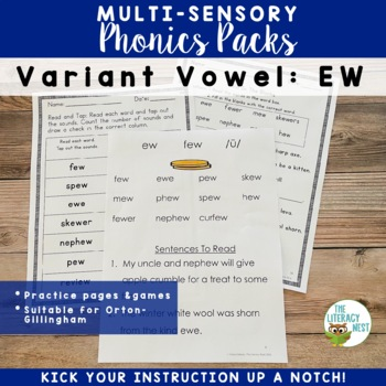EW Variant Vowels Phonics Pack and Word Work Supports Orton-Gillingham