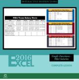 EXCEL 2016 - Simple Functions - NBA Salaries
