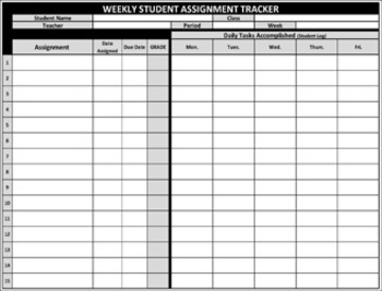"STUDENT ASSIGNMENT TRACKER/RECORD SHEET - ""Help Students Meet YOUR Deadlines"""
