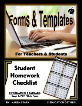"""EXCEL TEMPLATE & WORD FORM - """"Student Assignment Tracker R"""