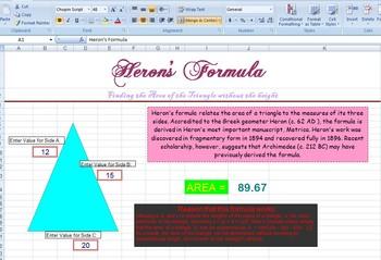 EXCEL ~ Triangle Area - Heron's Formula