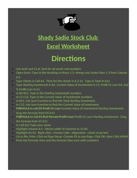 EXCEL WORKSHEET--Shady Lady Stock Club