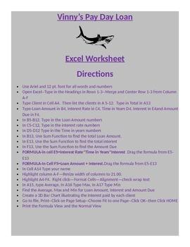 EXCEL WORKSHEET--Vinny's Loan Shark