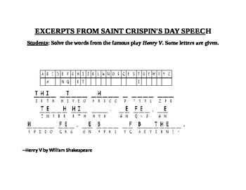 EXCERPTS FROM SAINT CRISPIN'S DAY SPEECH CRYPTOGRAM
