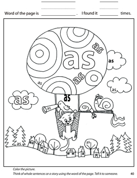 EXCITING Sight Words Coloring - Part 1