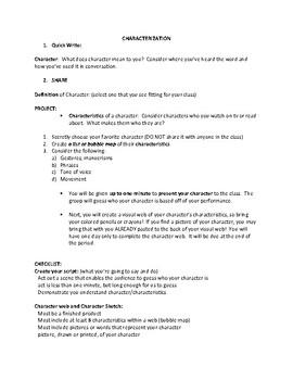 Character Analysis; Characterization