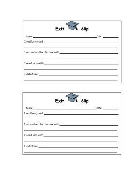 EXIT SLIPS An Effective Classroom Strategy for any Classroom