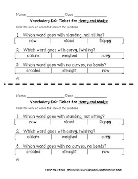 EXIT TICKETS - Vocab and Spelling 2nd Grade Journeys Unit 1 ©2014