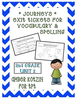 EXIT TICKETS - Vocab and Spelling 2nd Grade Journeys Unit 2 ©2014