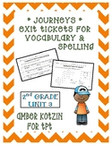 EXIT TICKETS - Vocab and Spelling 2nd Grade Journeys Unit 3 ©2014