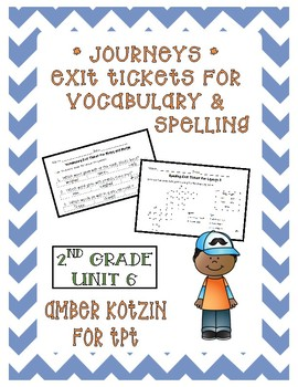 EXIT TICKETS - Vocab and Spelling 2nd Grade Journeys Unit 6 ©2014