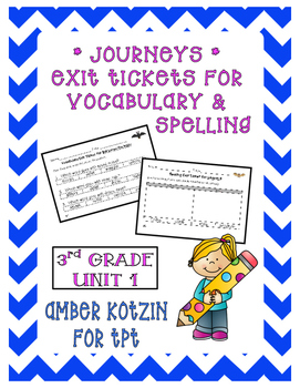 EXIT TICKETS - Vocab and Spelling 3rd Grade Journeys Unit 1 ©2014