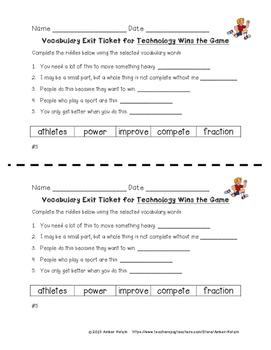 EXIT TICKETS - Vocab and Spelling 3rd Grade Journeys Unit 3 ©2014