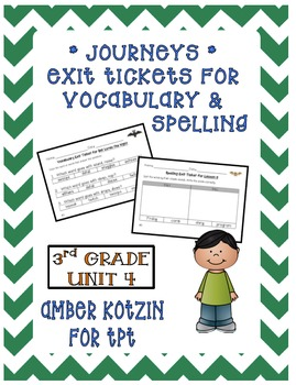 EXIT TICKETS - Vocab and Spelling 3rd Grade Journeys Unit 4 ©2014
