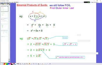 EXP 06 Binomial Prods Surds and Rationalising the Denominator