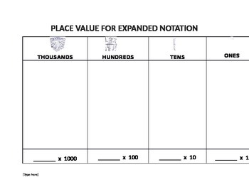 EXPANDED NOTATION PLACE VALUE MAT AND RECORDING SHEET