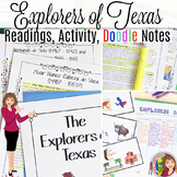 TEXAS EXPLORERS with CARTOON NOTES and READINGS - Explorers to Texas