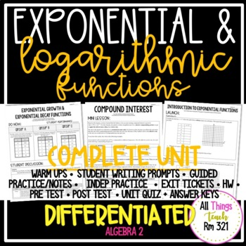 EXPONENTIAL & LOGARITHMIC FUNCTIONS: No PREP Unit + Differentiated + Answer Keys