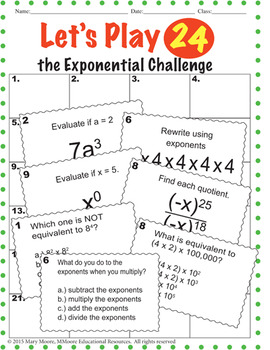 Laws of Exponents - 'Let's Play 24' - 120 Tasks - For Math Centers & Test Prep