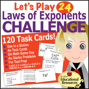 Laws of Exponents - 'Let's Play 24' - 120 Tasks - For Math