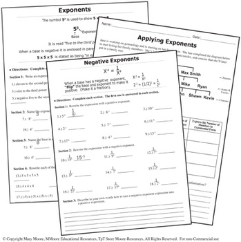 Laws of Exponents - Tiered Worksheets - For Interactive Notebooks & More