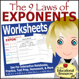 Laws of Exponents - Tiered Worksheets - For Interactive No