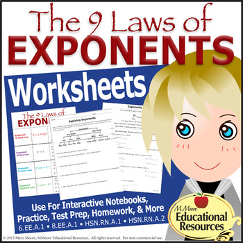 Laws of Exponents {Tiered Worksheets} For Interactive Note