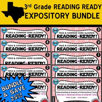 EXPOSITORY BUNDLE ~ READING READY 3rd Grade Task Cards: 10 Basic & Advanced Sets