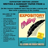 Expository Writing Lesson Plan - WRITING A SUMMARY PAPER FROM A SURVEY