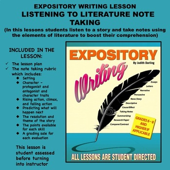 Expository Writing Lesson  - LISTENING TO LITERATURE NOTE TAKING