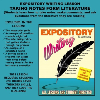 Expository Writing Lesson plan  - TAKING NOTES FROM LITERATURE
