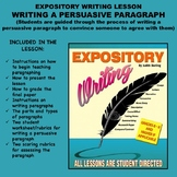 Expository Writing Lesson Plan - WRITING A PERSUASIVE PARAGRAPH