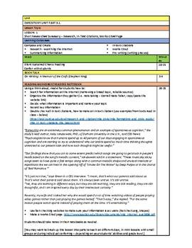 EXPOSITORY UNIT Part 3 - Unit Plan
