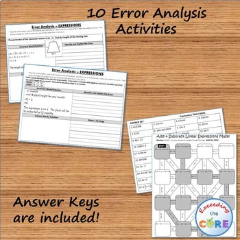 EXPRESSIONS BUNDLE - Task Cards, Error Analysis, Graphic Organizers, Puzzles