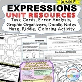 EXPRESSIONS Task Cards, Error Analysis, Graphic Organizers, Puzzles, Notes