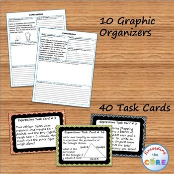 EXPRESSIONS Bundle - Task Cards, Error Analysis, Word Problems, Puzzles, Notes
