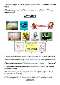 ANIMAUX - EXPRESSIONS IDIOMATIQUES