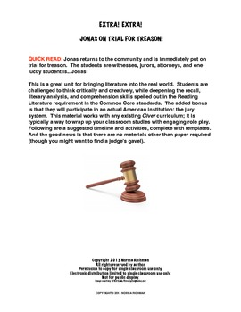 EXTRA! EXTRA! JONAS ON TRIAL - COMMON CORE LITERATURE LESSON PLAN FOR THE GIVER