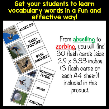 EXTREME SPORTS Vocabulary Words: Flash Cards and Word Puzzles