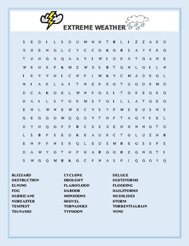 EXTREME WEATHER: A VOCABULARY WORD SEARCH