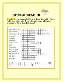 EXTREME WEATHER VOCABULARY WORD JUMBLE: A FUN CHALLENGE!