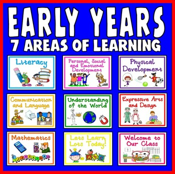 EYFS 7 AREAS OF LEARNING EARLY YEARS DISPLAY PLANNING PRIMARY + A4 LETTERING